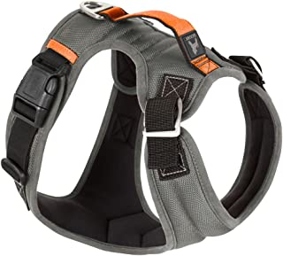 Gooby Pioneer Dog Harness with Control Handle & Seat Belt Restrain Capability, X-Large, Gray