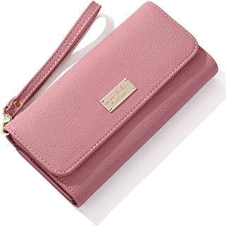 Wallet for Women Leather Multi-Functional Trifold Cell Phone Card Large Wristlet Purse Clutch Handbag Cellphone Case Holst...