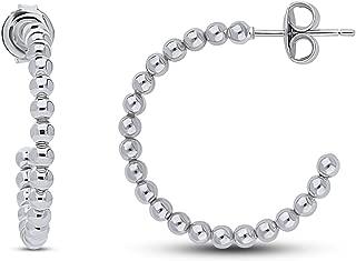 BERRICLE Rhodium Plated Sterling Silver Bead Medium Fashion Half Hoop Earrings -