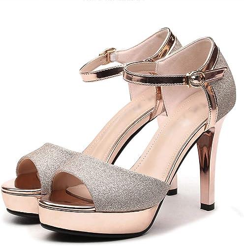 Sandales Chaussures à à à Talons Hauts Et à Bout Ouvert D'été à Plateforme Imperméable (Couleur   or, Taille   38) a28
