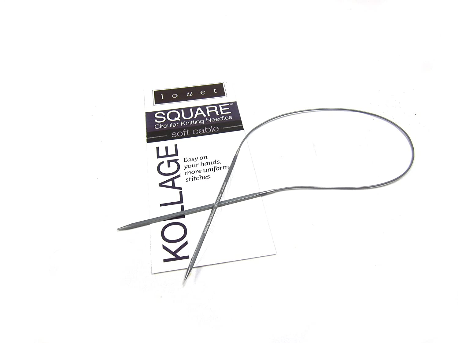 Kollage Square Circular 9-inch (23cm) Knitting Needle with Soft Cable (US 1/2.25mm)