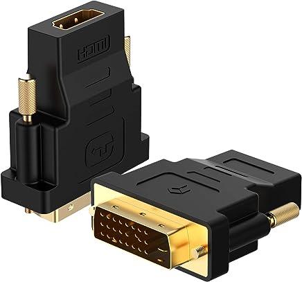 Rankie Adaptateur DVI vers HDMI, 1080P Full HD, Lot de 2, Noir