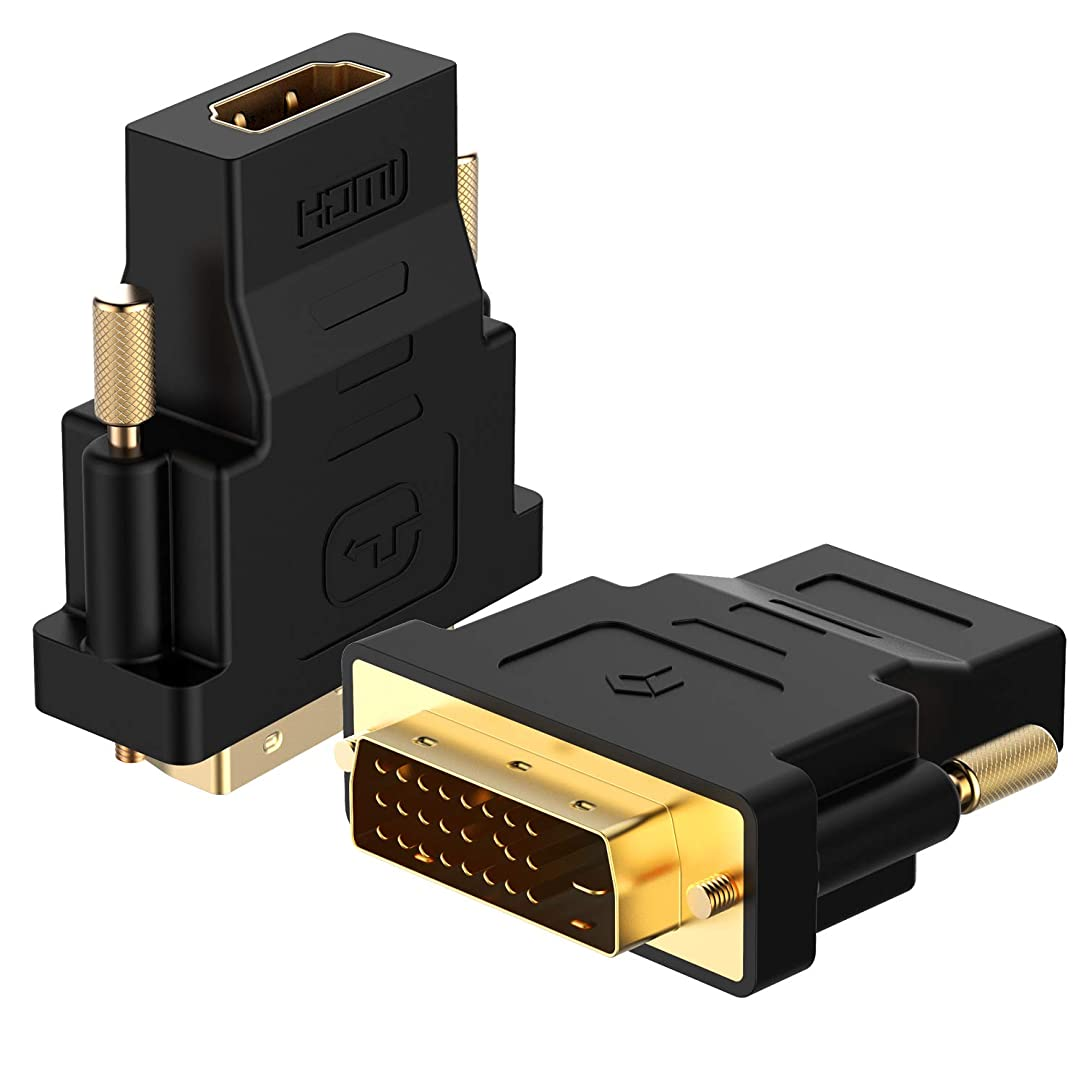 Rankie DVI to HDMI Adapter, 2-Pack Gold-Plated 1080P Male to Female Converter (Black)