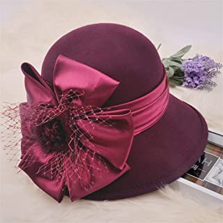KCBYSS Mother Gift Female Autumn and Winter Headwear Women Banquet Party Large Flower Woolen Fedora Hats Lady Pure Wool Felt Hat (Color : Russet)