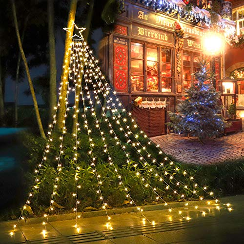 (2021 New) FUNIAO Decorations Star String Lights, 317 LED Waterfall Christmas Tree Lights with 12' Topper Star Christmas Lights Indoor Outdoor Decorative for Yard Party Home Holiday Decor (Warm White)