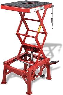 Elevador de Motocicleta Rojo 135 kg con Pedal, Barra de