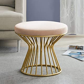 Cardinal & Crest Luxurious Velvet Covered Ottoman Footrest - Modern Round Stool Seat w/Sturdy Gold Metal Base - No Assembly Required Accent Furniture Perfect for Use in Any Room - Pink Velvet Color