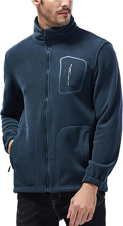 Couple Models Full Zip Polar Fleece Jacket Soft Winter Outdoor Jacket with Pockets Large Size