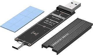 ElecGear Adaptador NVMe con USB Tipo A y C de Doble Enchufe, Lector de Tarjetas de Memoria SSD M.2 PCI-e, 10Gbps USB 3.1 Gen2, 2242 2260 2280 Convertidor SSD NVMe M2 portátil con Disipador de Calor