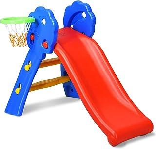 COSTWAY Tobogán Infantil con Aro de Baloncesto para Jardín Parque Hogar Interior Exterior