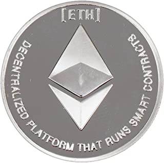 Ethereum Coin Cryptocurrency Silver Plated - Challenge Crypto Coin Come in Round Cases. (1 Pack)