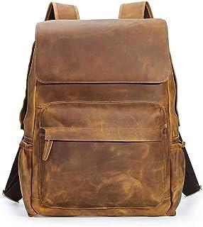 TIDING Herren Jahrgang Echtes Leder Rucksack Handgefertigte Für 15,6-Zoll-Laptop Weekender Tote Daypacks mit großer Kapazität Rucksäcke mit Mehreren Taschen Reisesporttasche Hellbraun