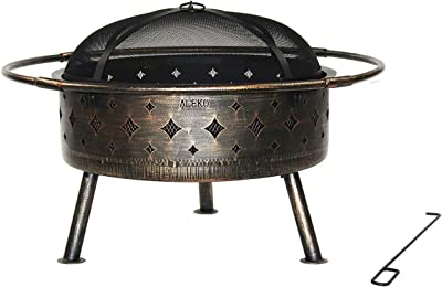 ALEKO FP005 Laser Cut Distressed Bronze Design Fire Pit with Flame Retardant Lid and Poker 30 Inches Bronze and Black