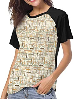 Summer Casual O-Neck,Abstract,Retro Mosaic Tiles Lines S-XXL Girls Short Sleeves Tight