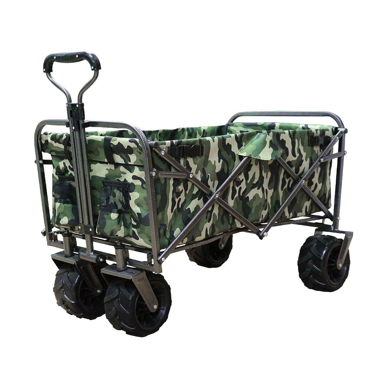 伝える食べるモジュールDABADA(ダバダ) キャリーカート 耐荷重150kg 容量95L アウトドアワゴン 折りたたみ 軽量 大型タイヤ 4輪