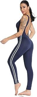 SEASUM Women Stripe Bodysuit Sleevesless Sport One-Piece Backless Sexy Slimming Bodycon Rompers Jumpsuit
