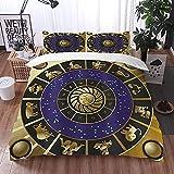 ETDWA Set copripiumino, Forma quadrata astrologia con dettagli interni oroscopo dello Zodiaco e costellazioni artistiche, Set copripiumino in Microfibra 220 x 240 cm con 2 federa 50 x 80 cm