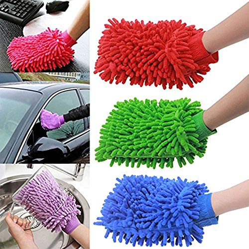 Nexxa Microfiber Cleaning Mitten - 3-pack - Double Sided Chenille Microfiber Glove - Dynamic Microfiber Cleaning Cloth Dusts, Washes, and Cleans Your Home, Kitchen, Bathroom, and Car