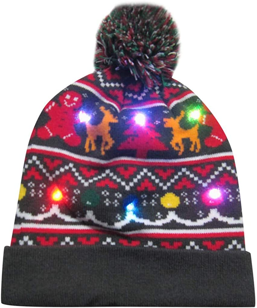WUAI Christmas Hats for Popular standard Adults Novelty Knitted Light LED Ugly Up El Paso Mall