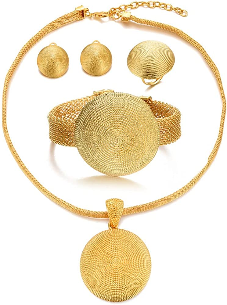 Dubai 24K Gold Plated Jewelry Sets for women African Wedding Enagement Gifts Party Jewellery Sets
