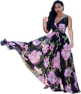 83ebd968730c Nuofengkudu Womens Stylish Chiffon V-Neck Printed Floral Maxi Dress with  Waisted Belt Plus Size