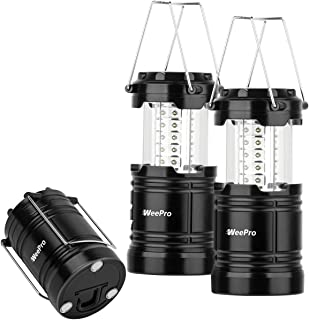 WeePro Led Camping Lantern Flashlights Outdoor Waterproof LED Emergency Lantern - Indoor Power Outage Light for Hurricanes - Tent Lantern Lights for Camp & Hiking, Portable & Collapsible,2-Pack