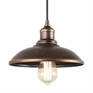 Giluta Rustic Pendant Light Industrial Barn Pendant Lighting, Vintage Style Kitchen Farmhouse Warehouse Edison Hanging Light Fixture, Bronze (P0034)