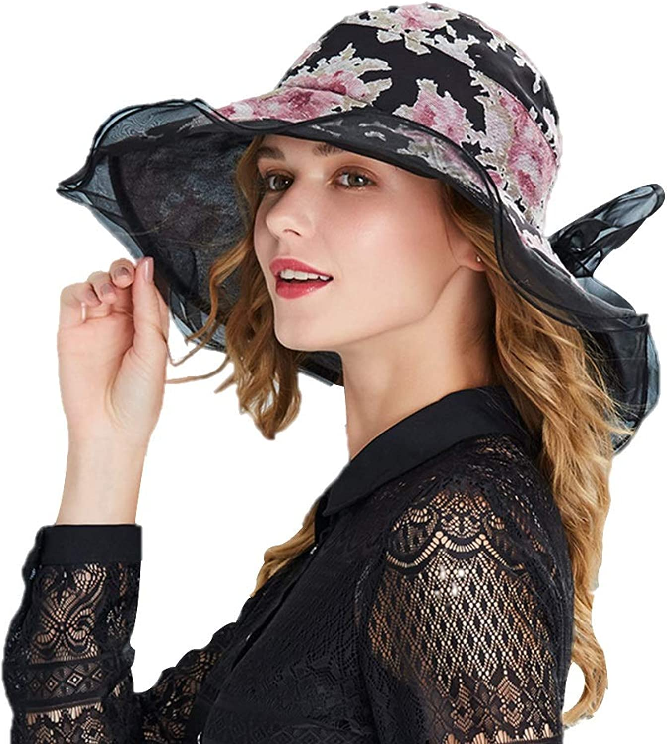 Outdoor Sun Hat Female Summer Sun Visor Lady Big Beach Hat Hollow Printed Silk Hat (color   Black, Size   57.5cm)