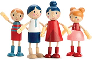 Tender Leaf Toys - Doll Family - Cute Wooden Doll Family for Happy Kid's Dollhouse, - Ergonomic Flexible Arms Design - Four-Piece of Mom, Dad, Boy and Girl
