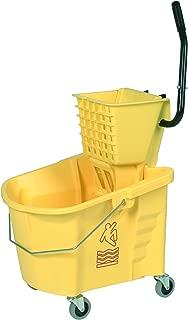 Continental 335-312YW Yellow 35 Quart Splash Guard Mop Bucket with SW12 Side-Press Wringer