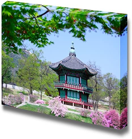 Wall26 Canvas Prints Wall Art Asian Style Pagoda Gazebo In The Open Blossoming Garden Modern Wall Decor Home Decoration Stretched Gallery Canvas Wrap Giclee Print Ready To Hang