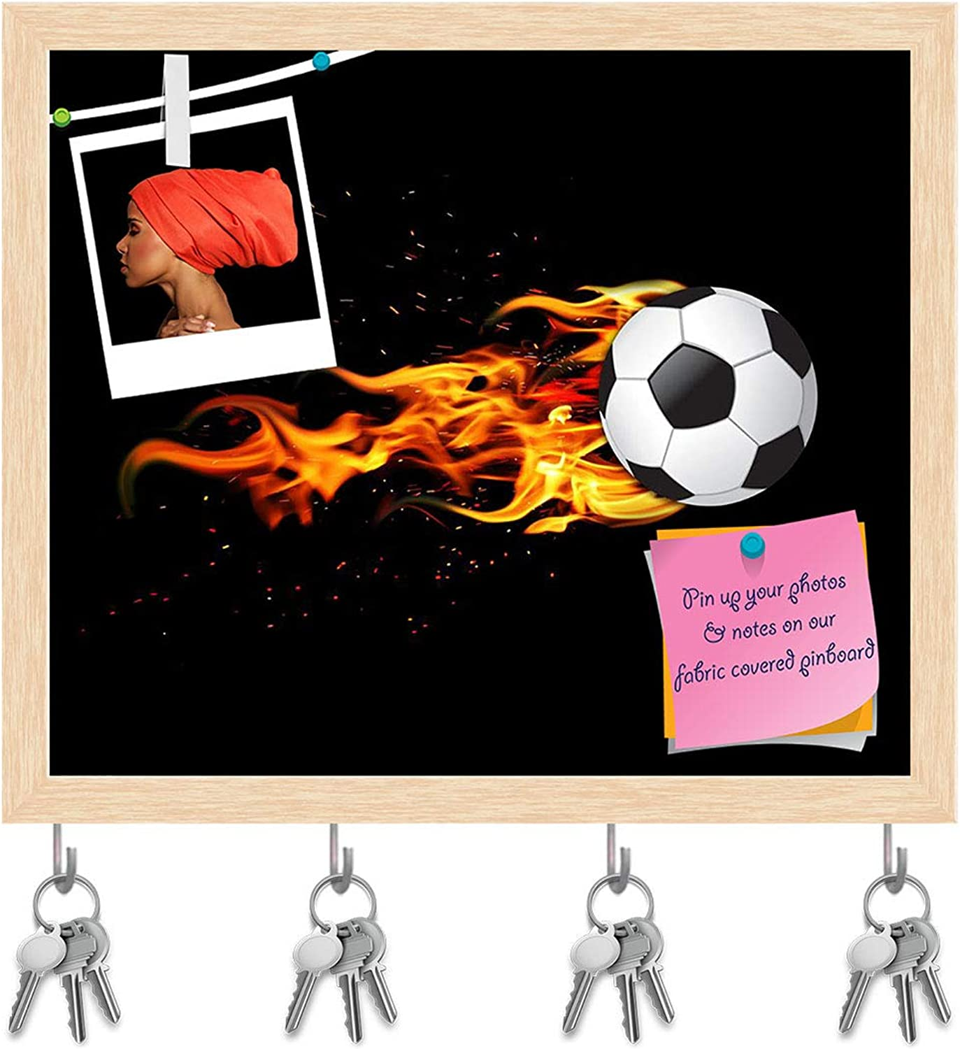 Artzfolio Soccer Ball On Fire Key Holder Hooks   Notice Pin Board   Natural Brown Frame 18.8 X 16Inch