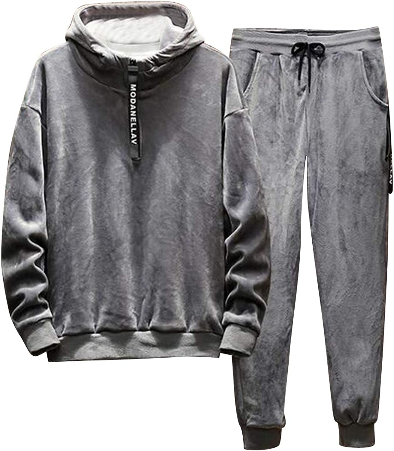 Jofemuho Men Fall Winter Pleuche Two Piece Plus Size Fleece Lined Sports Outfit Set