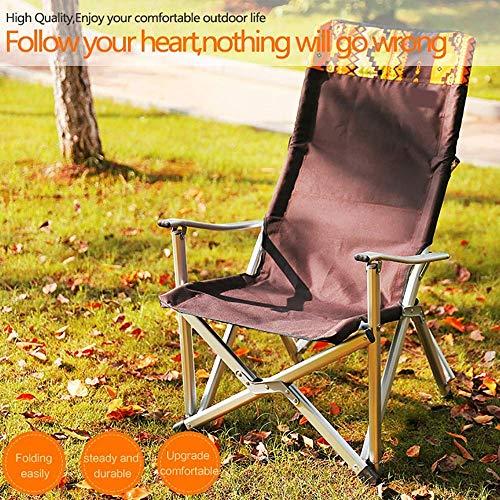 ZXL@ED Alliage d'aluminium de camping extérieur chaise pliante chaise fauteuil de pêche chaise chaise de jardin portable-Camp, barbecue, plage, pêche-Load120Kg ghk/Marron / 4