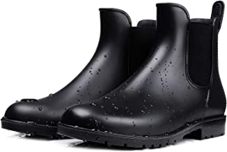smiry Women's Short Rain Boots Waterproof Anti Slip Rubber Ankle Chelsea Booties