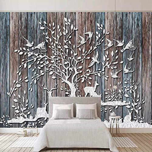 Benutzerdefinierte 3D Wallpaper Wandbilder Waldhirsch Retro Holzmaserung Holzbrett Wohnzimmer Tv Hintergrund Fototapete 430x280cm