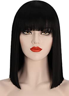 Juziviee Black Wigs for Women, 13'' Short Black Bob Wig with Bangs, Natural Looking Soft Synthetic Hair Wig, Cute Wigs for...