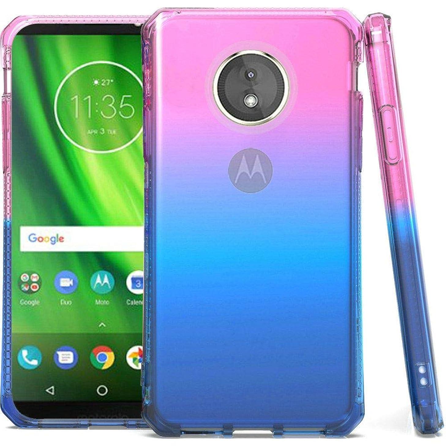 Bemz Shockproof TPU Slim Fit Protective Phone Cover Case and Atom Cloth for Motorola Moto E5 XT1920DL - Pink/Blue/Dark Blue