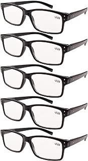 Eyekepper Mens Vintage Reading Glasses-5 Pack,Black +1.50