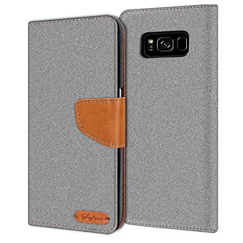 Verco Galaxy S8 Hülle, Schutzhülle für Samsung Galaxy S8 Tasche Denim Textil Book Hülle Flip Hülle - Klapphülle Grau
