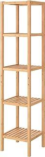 Homfa Estantería Bambú Baño Estantería para Ducha Estantería Almacenaje con 5 Niveles para Baño Cocina Altura Ajustable 33x33x146.3cm