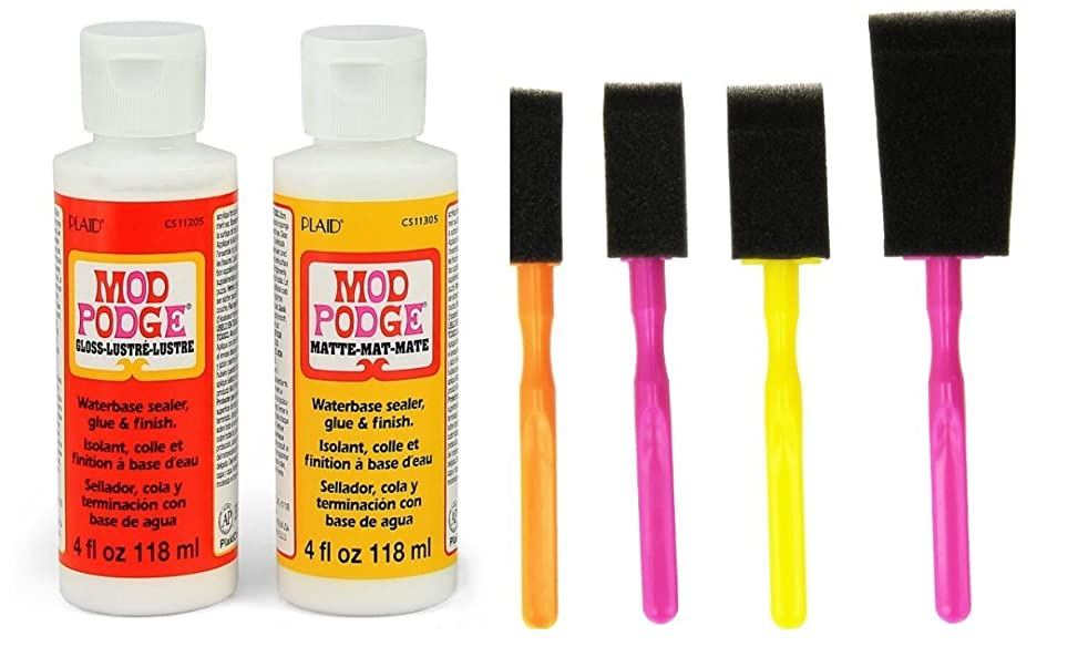 Mod Podge Decoupage Starter Kit Bundle with 6 Items -- Gloss and Matte Medium with 4 Foam Brushes