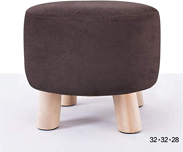 Carl Artbay Wooden Footstool Brown Wave Point Fashion Stool Solid Wood Bench Cloth Removable Washable Shoe Stool Home