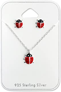 925 Sterling Silver Children's Red Ladybug Necklace & Stud Earrings Set 28974