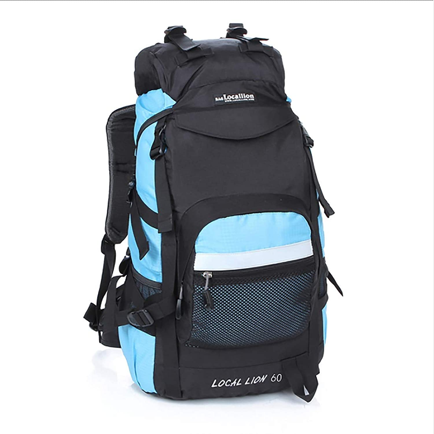 Hyue Mountaineering Backpack Waterproof Nylon Multipurpose Travel by Walk Wild Camping Leisure Sport Neutral Shoulders Suitable for Outside Use (color   Light bluee)