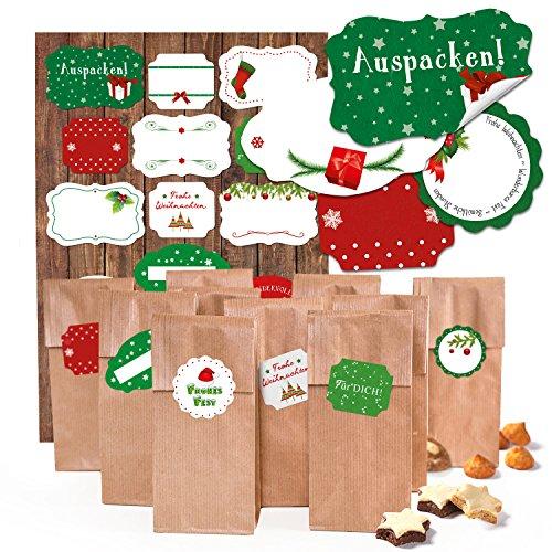 Kit : 10 petits Marron Sac à fond Bloc avec insert de parchemin kekstüten Biscuits Sacs (7 x 4 x 20,5 cm) + 17 Rouge Blanc Vert de Noël Étiquettes de cadeau sur adhésif (4–6,5 cm) à remplir