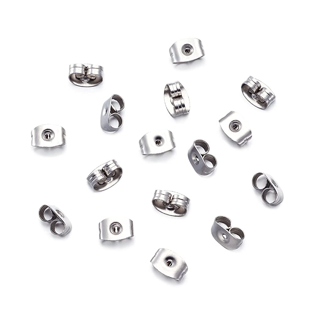 Pandahall 50pcs Stainless Steel Square Earring Back Nut Earnut Clasp Stopper Butterfly Clutches Jewelry Earring Components Making Findings 6.5x4.5x3.2mm