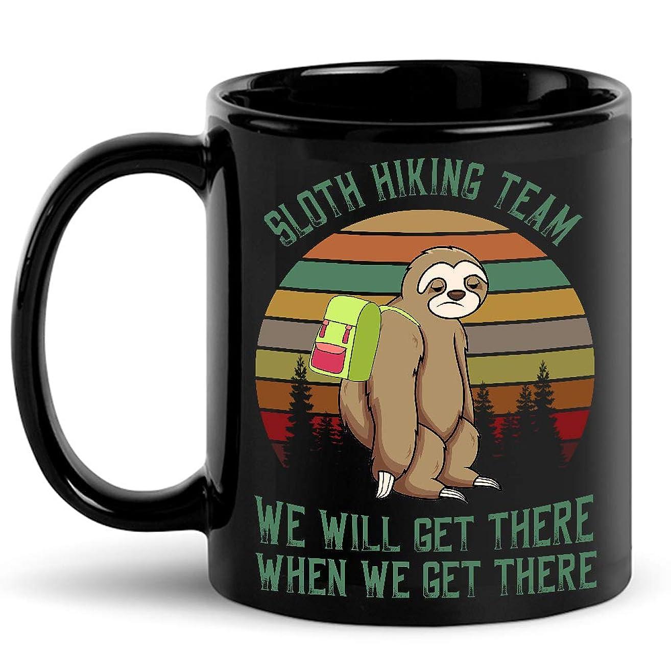 Funny Sloth Hiking Team Coffee Mug We Will Get There When We Get There Vintage Mug Hiking Lover Mugs Humorous Sarcastic Cozy Novelty Coffee Mug Tea Cup Gift 11oz 15oz Black Ceramic Mug