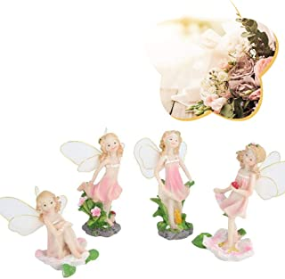 Outdoor Decor Statue,4Pcs Pink Lovely Fairy Decor Personalized Resin Craft Ornament Landscape Bonsai Decoration