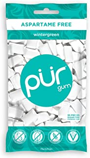PUR 100% Xylitol Chewing Gum, Sugarless Wintergreen, Sugar Free + Aspartame Free + Gluten Free, Vegan & Keto Friendly - He...